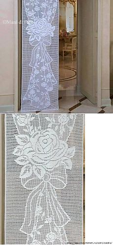 This Pin was discovered by hül Filet Crochet, Crochet Chart, Knit Crochet, Crochet Patterns, Crochet Curtain Pattern, Crochet Curtains, Curtain Patterns, Crochet Kitchen, Crochet Home