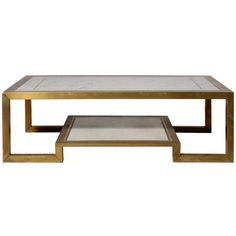 Bronze and marble coffee table with two shelves, c. 1970 at 1stdibs ❤ liked on Polyvore