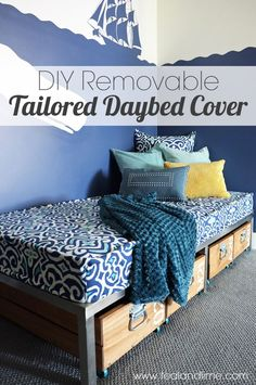 DIY Removable Tailored Day Bed Cover  A Favorite Online Fabric Source - Teal and Lime