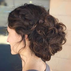 40 Creative Updos for Curly Hair Ethereal Low Bun with French Braid Curly Hair Updo, Curly Wedding Hair, Messy Updo, Prom Hair, Curly Hair Styles, Low Bun Updo, Braided Chignon, Box Braids Hairstyles, Down Hairstyles