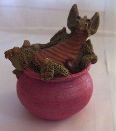 Vintage Cute Miniature Green Resin Dragon Figurine Statue Pink Bath Collectible
