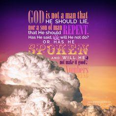 God is not a man that He should lie; nor a son of man that He should repent. Has He said, and will He not do? Or has He spoken, and will He not make it good? Num 23:19