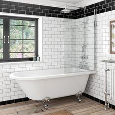 The Bath Co. Dulwich freestanding shower bath and bath screen with rail 1500 x 780 Tub Shower Combo, Bathtub Shower, Shower Over Bath, Diy Shower, Bad Inspiration, Bathroom Inspiration, Bathroom Ideas, Bathroom Inspo, Bathroom Organization