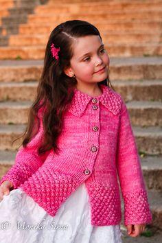 Ravelry: Roseberry Cardi pattern by Monika Sirna Knitting For Kids, Knitting Projects, Baby Knitting, Crochet Baby, Knit Crochet, Sweater Knitting Patterns, Knit Patterns, Aran Weight Yarn, Knitted Coat