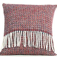 Tweedmill Pure New Wool Cushion with Pad Illusion Crimson Blue Tweedmill Textiles of Wales - woven in Denbigh on the edge of the Clwydian mountain