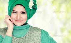 portrait of beautiful woman wearing hijab - Stock Photo - Images