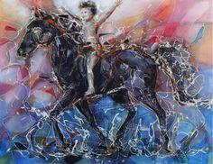 Painting-The Black Stallion by artpucik on Etsy