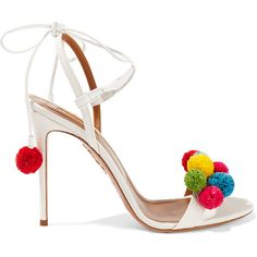 Aquazzura Pompom-embellished raffia sandals (3.140 RON) ❤ liked on Polyvore featuring shoes, sandals, heels, footwear, white, colorful sandals, multi color sandals, white heel shoes, evening sandals and braided sandals