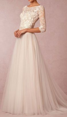 Cheap wedding dress with sleeves, Buy Quality modest wedding dress directly from China wedding dress Suppliers: 2017 Modest Wedding Dresses with Sleeves Sexy Sheer Lace Applique Jewel Neckline Elegant A Line Champagne Tulle Bridal Gowns New Wedding Dresses, Tulle Wedding, Wedding Attire, Wedding Bride, Bridesmaid Dresses, Formal Dresses, Dresses Uk, Gown Wedding, Bhldn Wedding