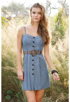 BELTED CHAMBRAY DRESS -- so cute with boots