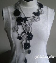 Crochet Rose NecklaceCrochet Neck Accessory Flower Necklace