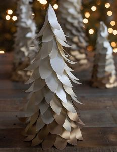 Woodland Wonderland Mini Ombre Christmas Tree: make a tabletop Christmas tree out of paper and give it a classy, elegant appearance with this Christmas craft idea.