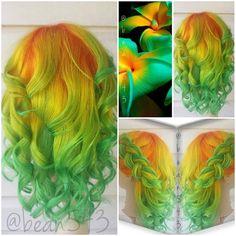 Orange yellow and green hair Vivid Hair Color, Cool Hair Color, Hair Colors, Funky Hairstyles, Pretty Hairstyles, Pelo Multicolor, Yellow Hair, Orange Yellow, Jaune Orange