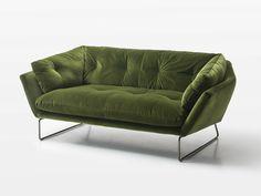 Sofá tapizado 2 plazas de tela Colección New York Suite by Saba Italia | diseño Sergio Bicego