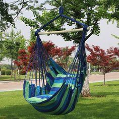 Sorbus Blue Hanging Rope Hammock Chair Swing Seat - Beachfront Decor