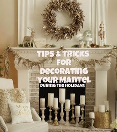 Check out this guide with great tips and tricks for decorating your mantel and wreaths like a pro! Holiday decorating hacks! | Holiday Home Decor