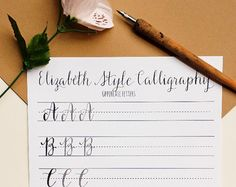 Are you a beginner in calligraphy looking to practice letter formations? Are you an intermediate or expert calligrapher looking to learn a new font? This worksheet includes examplars and practice letters for lowercase letters A through Z. The Catherine style is a flowy, flourishy, and elegant font. Practice using thick downstrokes and thin upstrokes using this calligraphy worksheet as a guide. Includes one examplar (in black font) and two tracing practice letters (in gray), plus space to…