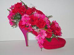 High Heel Shoe Flower Arrangement | Red Velvet High Heel Shoe Vase with Red Roses and a Mauve Mini Spray ...