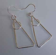 silver geometric earrings triangle modern abstract by TheresaHingJewellery on Etsy