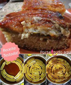 Aprenda a fazer essa receita simples e fácil de torta de banana invertida de liquidificador, uma delícia!