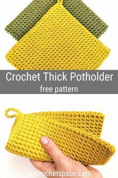 Crochet Potholder Patterns, Crochet Dishcloths, Crochet Stitches Free, Crochet Clutch Pattern, Different Crochet Stitches, Crochet Gifts, Diy Crochet, Quick Crochet, Easy Things To Crochet
