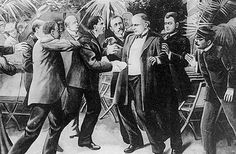 """The Assassination Of President McKinley. On September 6, 1901, Czolgosz stood in line at the Pan-American Exposition in Buffalo, New York to shake hands with President William McKinley. Czolgosz's handkerchief hid a gun, and he pumped two bullets into McKinley's chest. """"Be careful how you tell my wife,"""" McKinley pleaded weakly."""
