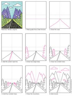 How to draw perspective landscape. A step-by-step tutorial for young artists. PDF download is available at Art Projects for Kids.org
