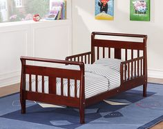 Make the transition from the crib to the standard-height bed easy with the Baby Relax Toddler Bed in cherry. With its low-to-the-floor height, this bed is just right for a toddler.