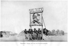 Italian blackshirt volunteers pose at the entrance to their camp at Mogadishu, Italian Somaliland, 1935. From Augusto Agostini, Kolonnen, Germany, 1942 (trans. from Italian). A history of the Italian invasion of Abyssinia, 1936, describing the glorious adventures of General Agostini's columns. Mussolini gained a great deal of prestige by his conquest of Abyssinia. The Italian public loved him for it. Gloria! The book doesn't mention the Italians' use of poison gas. Learyworks.com collection.
