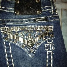 More cool jean pocket ideas . Just need to learn to sew jeans first ! Google Image Result for http://i.ebayimg.com/t/Rare-Miss-Me-Black-Lace-Bling-Stitch-Pocket-Jeans-Womens-Size-26-from-the-Buckle-/00/s/OTk5WDk5OQ%3D%3D/%24T2eC16RHJHYE9nzpdVJsBQggfl2VCg~~60_35.JPG