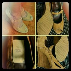 """Franco Sarto Camel Peep Toe Wedges Like New RePosh - This is a perfect example of my impulse shopping. Worn once by the Posher I bought them from. Flaw is pictured. Genuine suede leather upper, stacked wood wedge heel. About 4 """" high. No box. ✈Fast shipping✈Thanks for browsing my closet! Franco Sarto Shoes"""