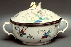 Porringer with cover (Écuelle)  Chantilly  Date: 1732–38 Culture: French…