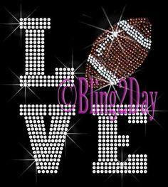 LOVE - Football - 2 Line Version - Iron on Football Rhinestone Transfer  Bling Hot Fix Sports Mom - D 0b1737514e39