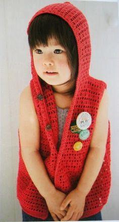 Hooded Vest for a Girl free crochet pattern