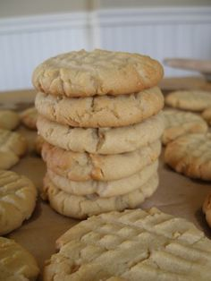 """Peanutbutter Cookies."" I remember making some similar to this with my mom. She called them ""Peanut Butter Criss Cross Cookies""  because of the pattern the sugar dipped fork made"