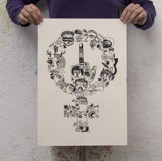 Serigrafia en poster FUCK GENDER ROLES de p.nitas*