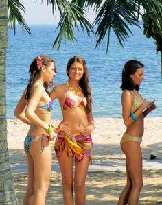Bikini models on the Black Sea in Bulgaria