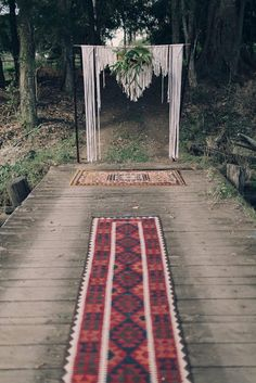 Our Persian rug aisle and macrame wedding backdrop Hummingbird Style and Hire.   Images Juddric Photography | Bride's Dress Rue De Seine | Bride's Shoes R.M. Williams | Groom's Suit Jack London | Groom's Shoes The Horse | Celebrant Erin Woodhall | Flowers Flour & Bloom | Styling & Concept Frankie & Mavis | Signage Gang of Smiths | Hair/MUA George & Frankie's | Vintage Caravan Photo Booth Frankie & Mavis | Bell Tent Hire Glamping Days | Furniture/Props Hummingbird Style & Hire | Lighting…