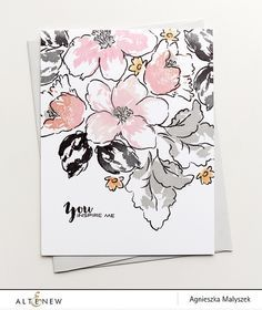 Altenew - HIBISCUS BOUQUET - Clear Stamps Combining classical elegance with modern bold statement, this set will give you a beautiful assortment of hibiscus flo Hibiscus Bouquet, Hibiscus Flowers, Altenew Cards, Card Making Inspiration, Watercolor Cards, Watercolour, Card Sketches, Sympathy Cards, Flower Cards