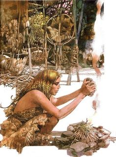 """Cro-magnon woman making fire""- Image result for sergio toppi ayla"