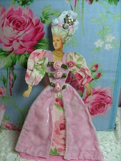 marie antoinette,shabby ,altered art. paper doll ,blue pink ,glitter, 1   by stephanies cottage!