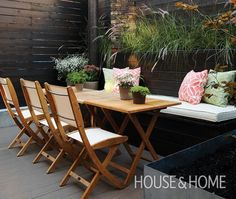 Small Backyard Transformation - great seating space on a small patio using built in seating