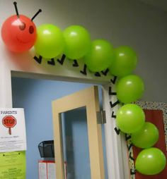 """Using balloons to create a classroom caterpillar is a creative idea. This would be great to use for """"The Very Hungry Caterpillar"""" by Eric Carle. Hungry Caterpillar Party, Caterpillar Craft, Classroom Door, Classroom Ideas, Eyfs Classroom, Diy Classroom Decorations, Infant Classroom, Classroom Teacher, School Decorations"""