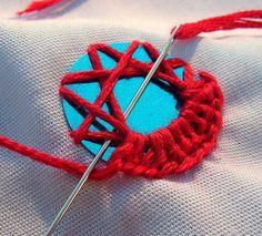 Stitch Tutorial: Indian Shisha (mirror-work) embroidery, diy, handmade, needlework, how-to Indian Embroidery, Ribbon Embroidery, Cross Stitch Embroidery, Embroidery Patterns, Sewing Patterns, Folk Embroidery, Embroidery Techniques, Sewing Techniques, Fabric Crafts