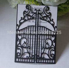 100 sets Luxury Doors  Wedding Invitation Card With Ribbon + Inner sheet +Envelope  Free printing
