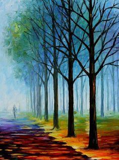 "BLUE FOG - PALETTE KNIFE Oil Painting On Canvas By Leonid Afremov - Size 30"" x 40"""