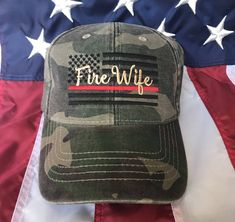 Ladies Thin red line Fire fighter wife American flag, Fire Wife camo hat, fire cap, Firefighter's wife embroidered red line camo hat, fire Fire Crafts, Firefighter Decor, Man And Wife, Army Shirts, Camo Hats, Firefighters Wife, Fire Department, Fire Dept, Beige Color