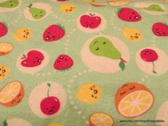 Flannel Fabric  Happy Fruit  1 yard  100% Cotton by SnappyBaby