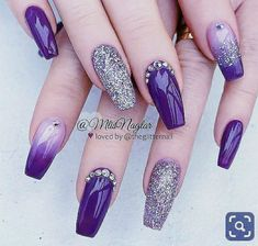 by Claire Roxby on One day when Im a big girl. in 2019 -Pin by Claire Roxby on One day when Im a big girl. in 2019 - Purple And Silver Nails, Purple Acrylic Nails, Purple Nail Art, Purple Nail Designs, Best Acrylic Nails, Nail Art Designs, Purple Nails With Design, Purple Wedding Nails, Purple Glitter Nails