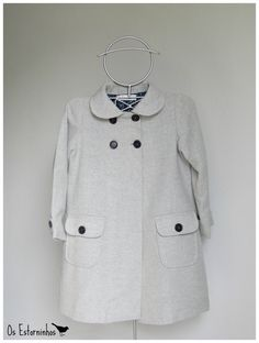 Warm wool Gray coat with floral linning by OsEstorninhos on Etsy